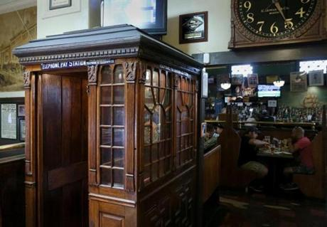 A telephone booth from 1882 at Doyle's Cafe.